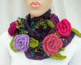 Cowl scarf hand-made my roses