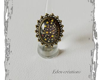 Ring glass cabochon, stars, dome ring, vintage