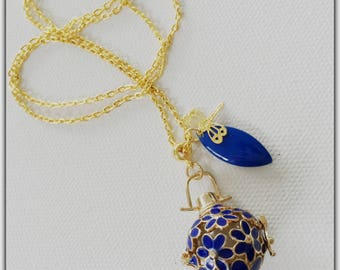 Cage pendant gold necklace, gold and Royal Blue