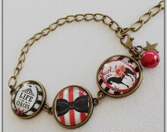 Bracelet glass cabochon, circus theme, circus