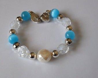 Cat eye Beads Bracelet heavenly harmonic and transparent metal pendant roses