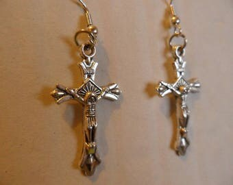 silver metal crucifix earrings