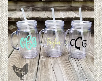 Monogram Mason Jar Tumbler -  Personalized Monogram Mason Jar