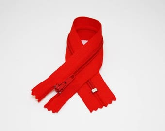 Zip closure, 12 cm, red, not separable