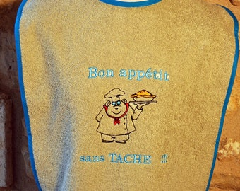 BIB ADULT TERRY BEIGE BON APPETIT SPOTLESS WITH NAME