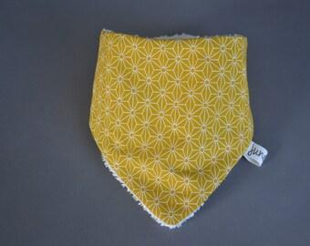 Mustard Japanese fabric bandana bib with interior Terry