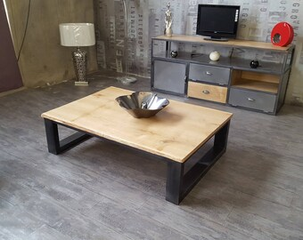 Coffee table industrial natural solid oak top
