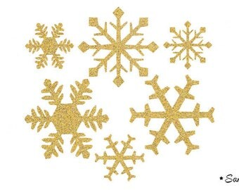 snow flakes dore paillete flex fusible applique