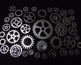 Set of 40 watch gears, steampunk, silver color.