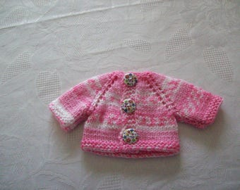 clothing, compatible with babies: Cardigan vest for 32 33 cm dolls, by hand (mottled pink color)