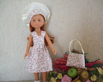 clothes for dolls 32/33 cm (dress, beret, bag) printed with pink flowers, liberty style