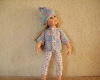 vest, leggings, hat for dolls, gotz hannah (cotton printed with stars)