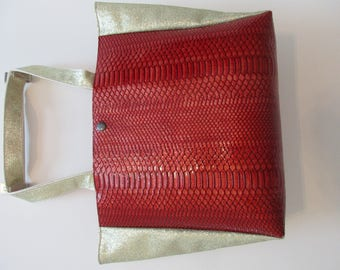 Red bag snakeskin and gold sides