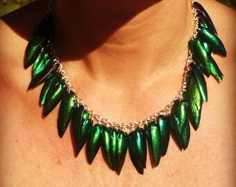 Empire elytras beetle wings necklace