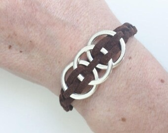 Trio of circles and Chocolate Suede bracelet