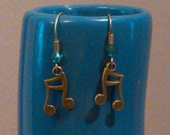 Pearl bronze music note earrings blue