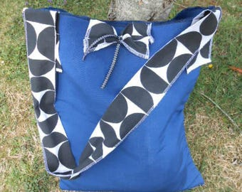 Beach seaside canvas blue and black women bag