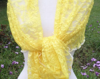 Shawl woman lace pleasant yellow wedding