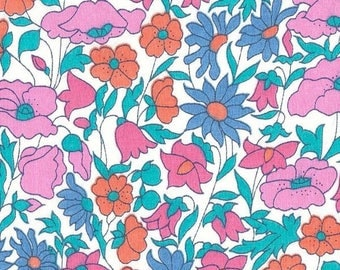 coupon fabric blue pink liberty poppy and daisy