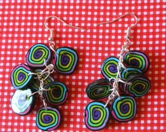 "handmade Earring ""cluster of color"""