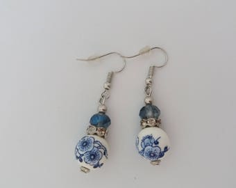 Fancy blue and White Pearl Earrings