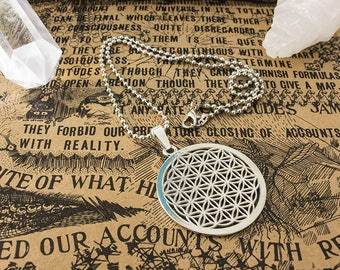 Flower of life silver pendant necklace