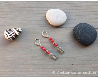 Coral on sterling silver Leverback Earrings