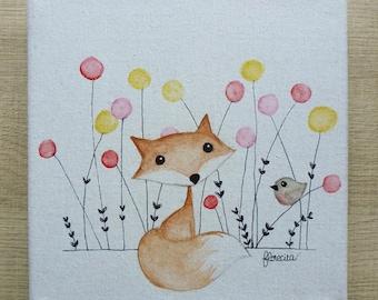 Small canvas Fox and Robin