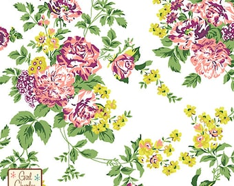 Chartreuse Purple Floral on White Cotton Jersey Blend Knit Fabric **UK Seller**