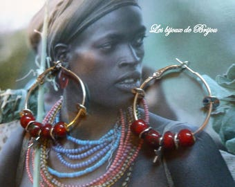 Ethnic chic hoop earrings red and silver