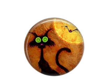 Round cabochon resin 25mm Chat Noir 03