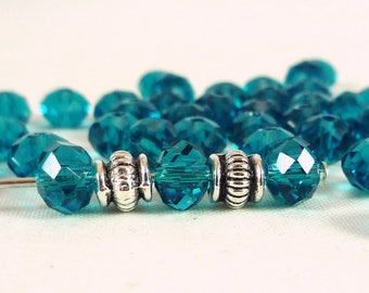 20 blue glass beads faceted, Abacus 4x6mm (pv296)