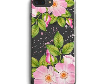 Rose iPhone case, Flower iPhone case, Pink rose iPhone case, iPhone 6 case, iPhone 6 + case, iPhone 7 case, iPhone 7 + case, Clear case