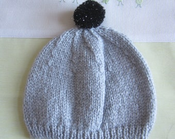 Beanie/hat size 3 month gray color - handmade knit