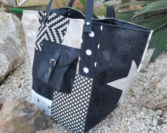 Black, silver and white patchwork Tote
