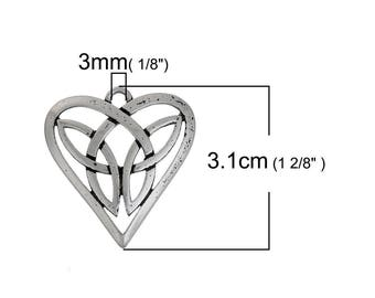 1 pendant charm Celtic heart knot 3.1x2.9 cm within 15 days