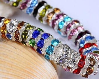 100pcs 6mm acrylic rhinestone Rondelle spacer beads