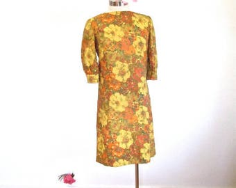 M L 60s MOD Floral Print Shift Dress Gold Orange MCM Twiggy Autumn Gold Puff Sleeves Mid Century NWOT Deadstock Handmade Medium Large
