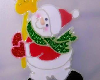 CHRISTMAS DECORATION WINDOW VITROSTATIQUE EMBOSSED JOY 13CM