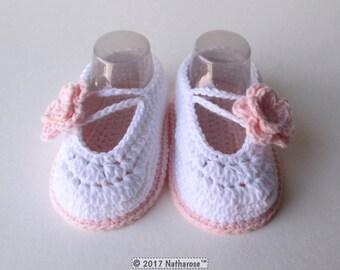 Chaussons ballerines bébé fille rose et blanc
