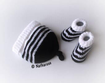 Ensemble naissance chaussons et bonnet noir et blanc