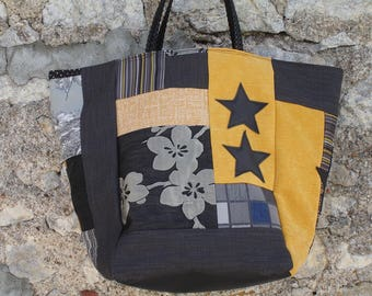 patchwork, black, grey, mustard, Star leather tote bag