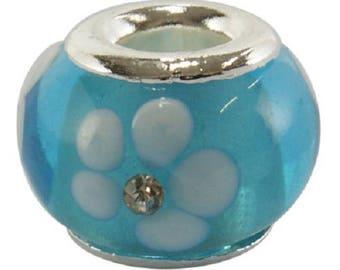 2 glass Lampwork blue flower white and rhinestone Pandora Style beads