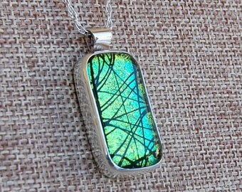 Dichroic Glass  Pendant Necklace Sterling Silver