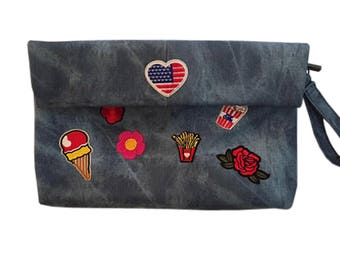 Denim Clutch Bag with Patches