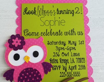 Owl Birthday Invitation | Look Whooo's Turning... | Multi-Layered | Premium Card Stock Details | Kids | Party