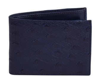 Ostrich leather wallet Dark Blue by Beretti