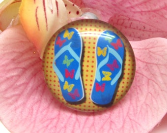2 cabochons 20 mm glass flip flops Beach 4-20 mm