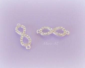 Connectors / charms - rhinestones & silver infinity sign