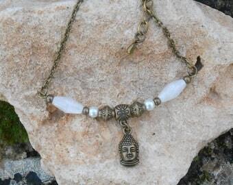 Destash: bracelet, bronze metal beads old shuttles white lucite and Buddha head charm